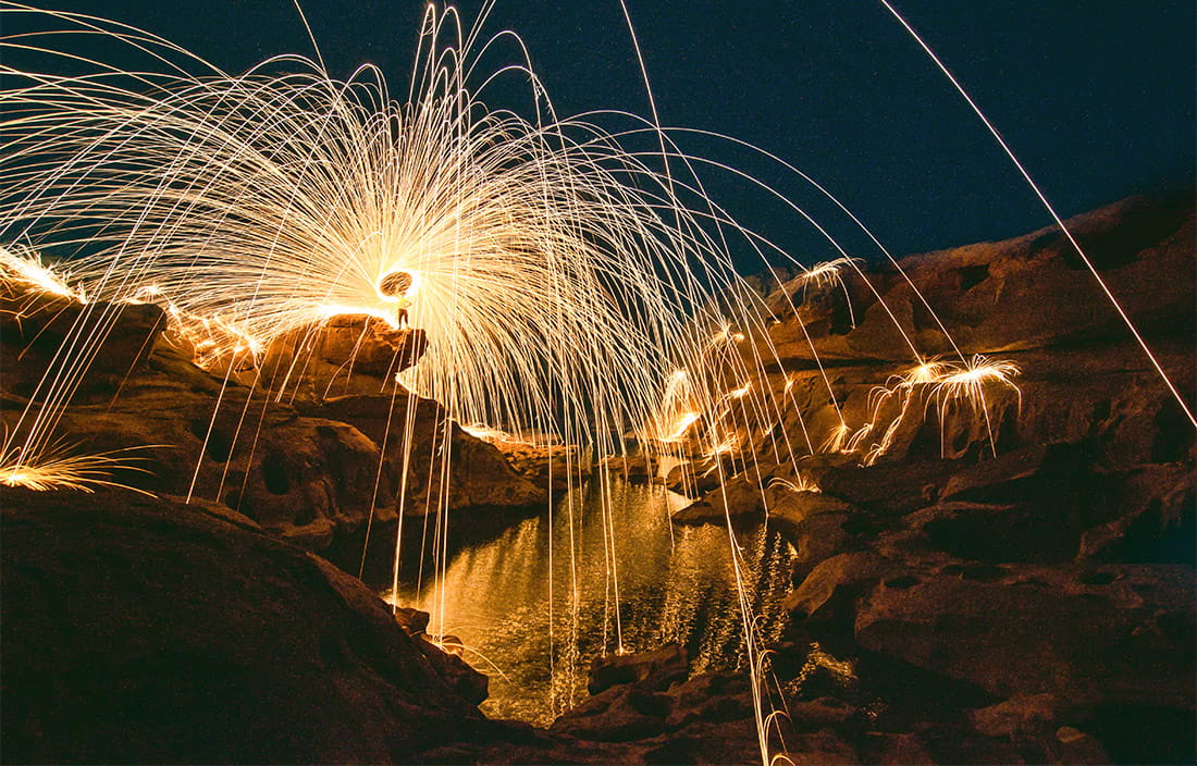 image of fireworks over mountains