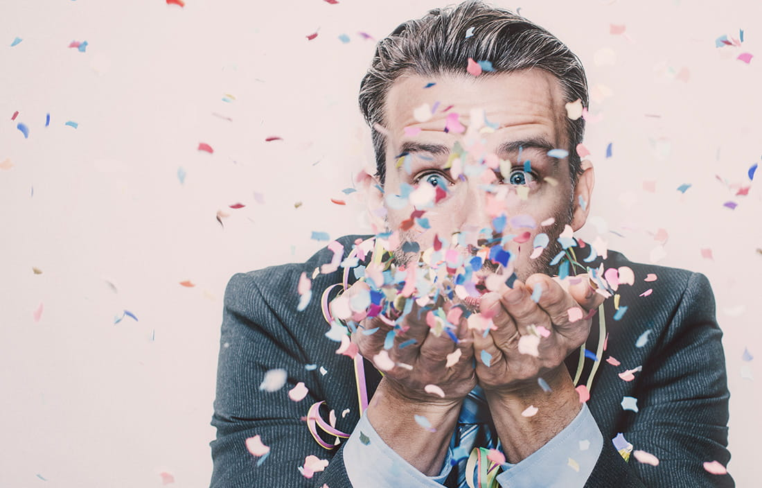 Image of man with confetti