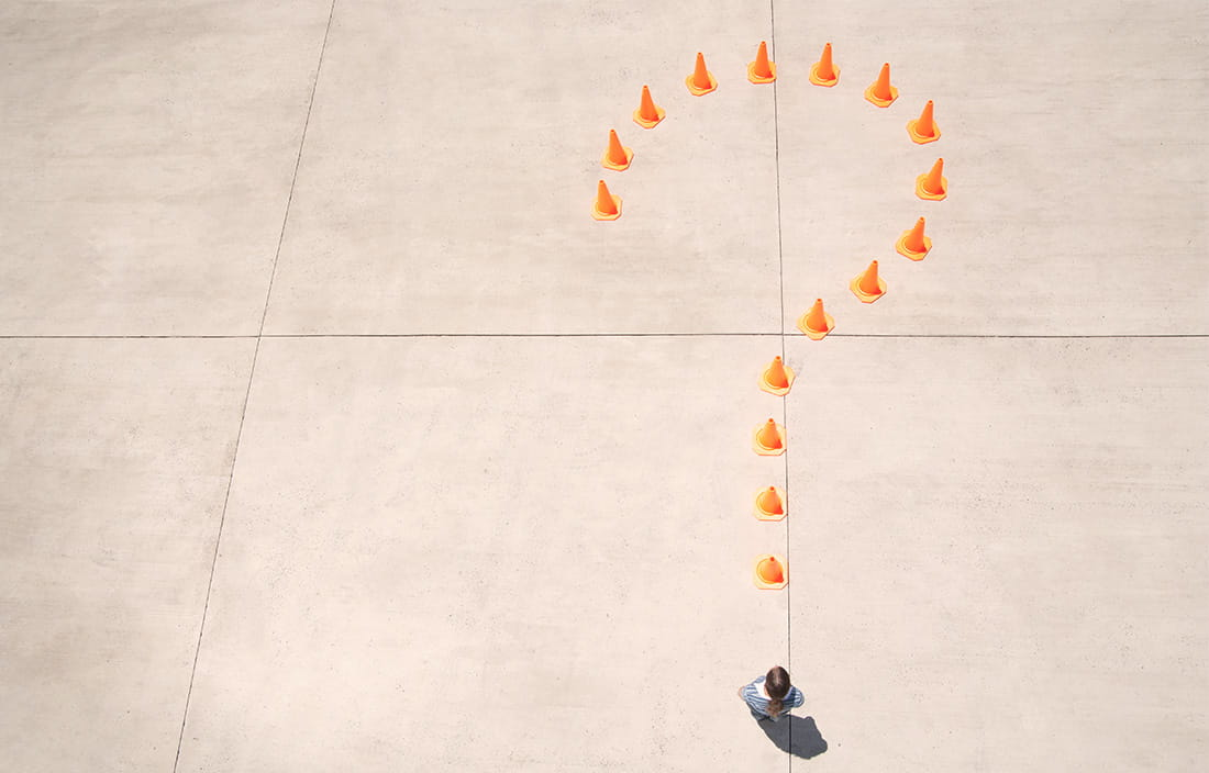 Image of question mark with cones