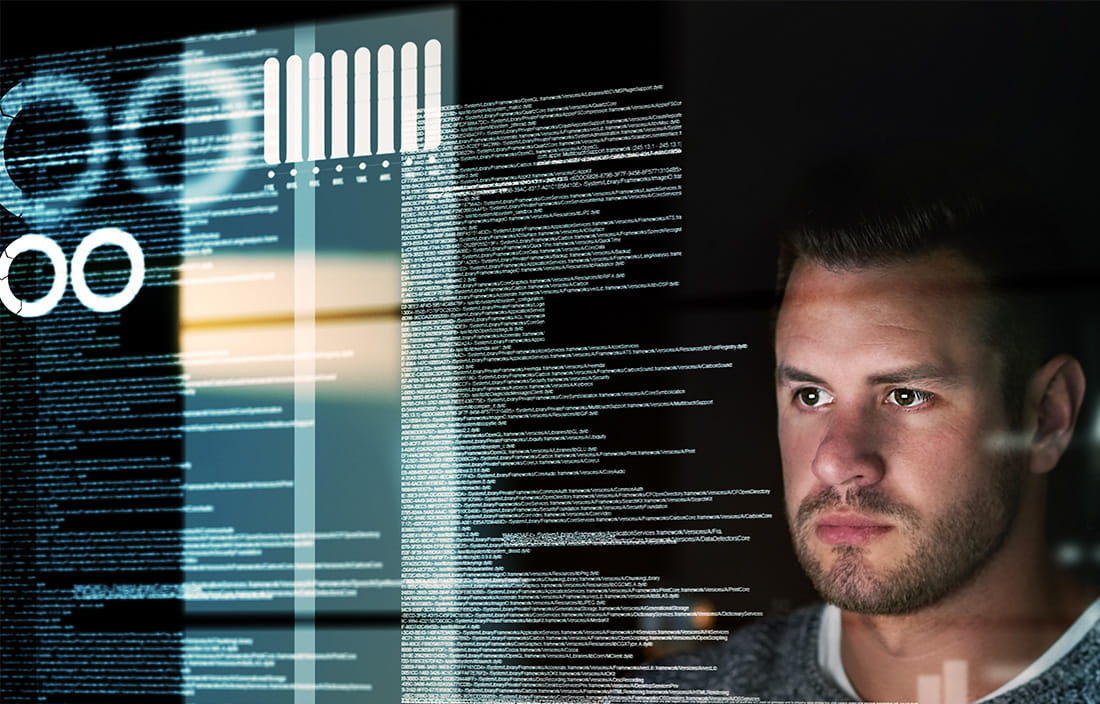 Image of a man reading data