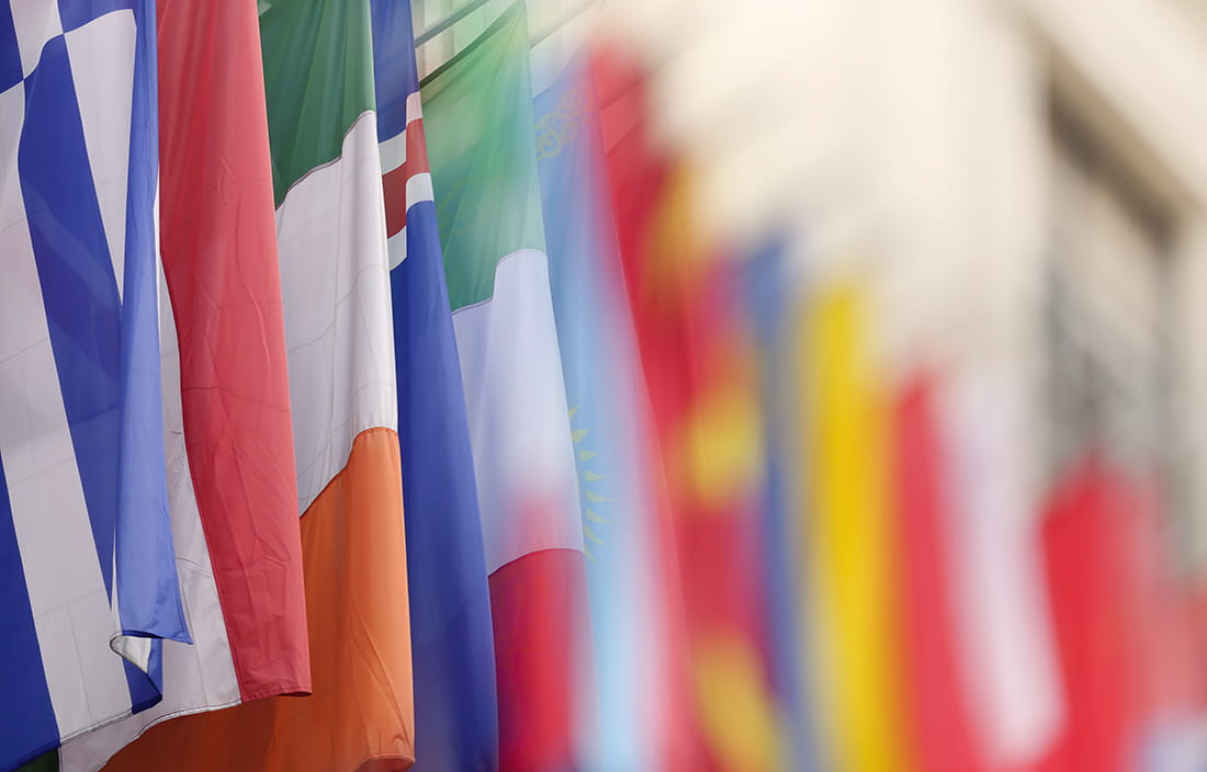 Close up image of global flags