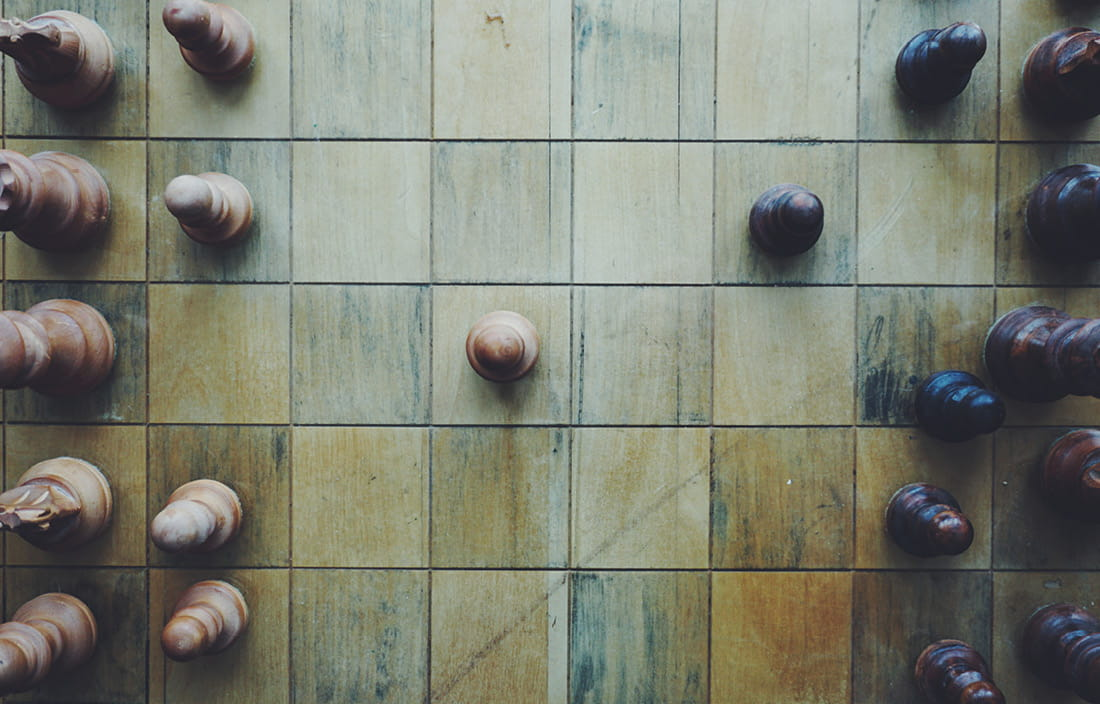 Overhead view of chess board