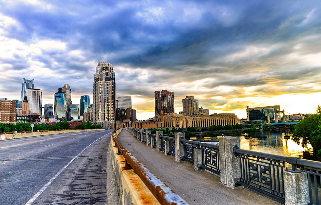 Minneapolis, Minnesota skyline from a road leading into the city