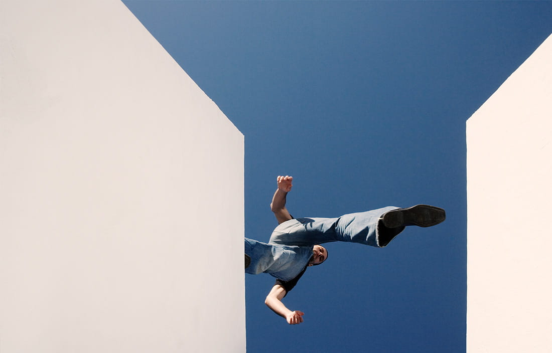 Image of person jumping between walls