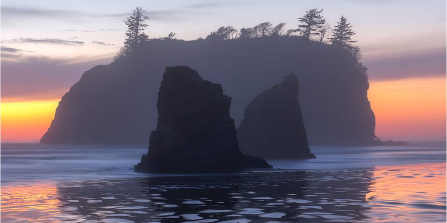 Island at dusk in Olympic National Park.