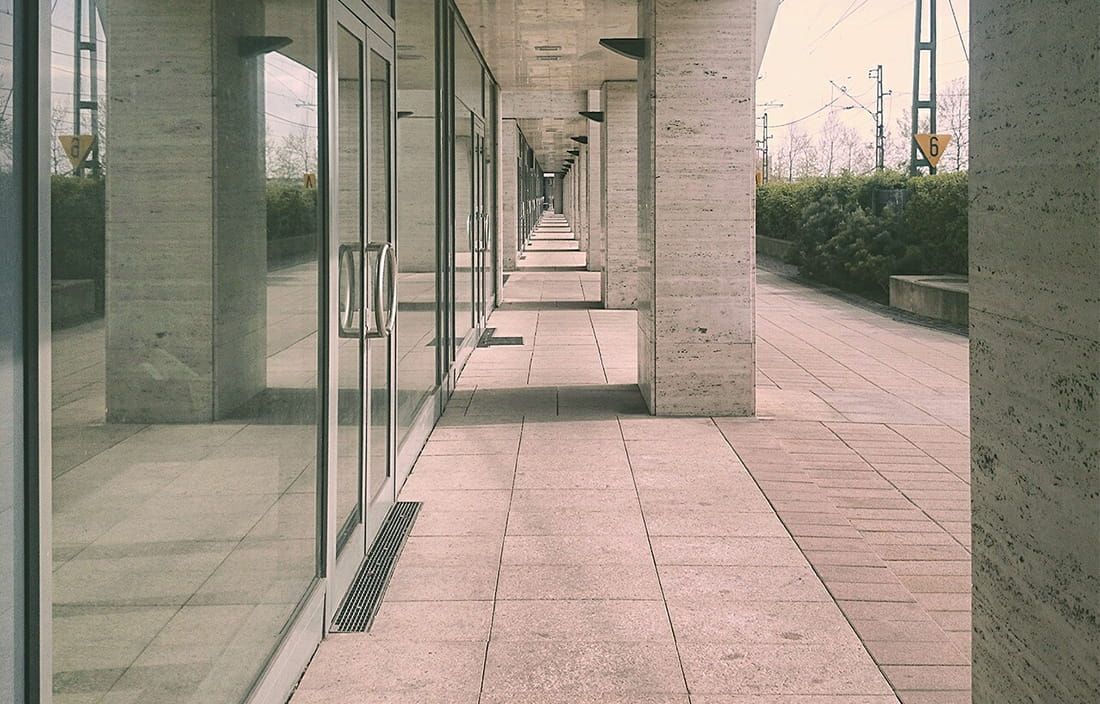 Concrete walkway perspective illusion