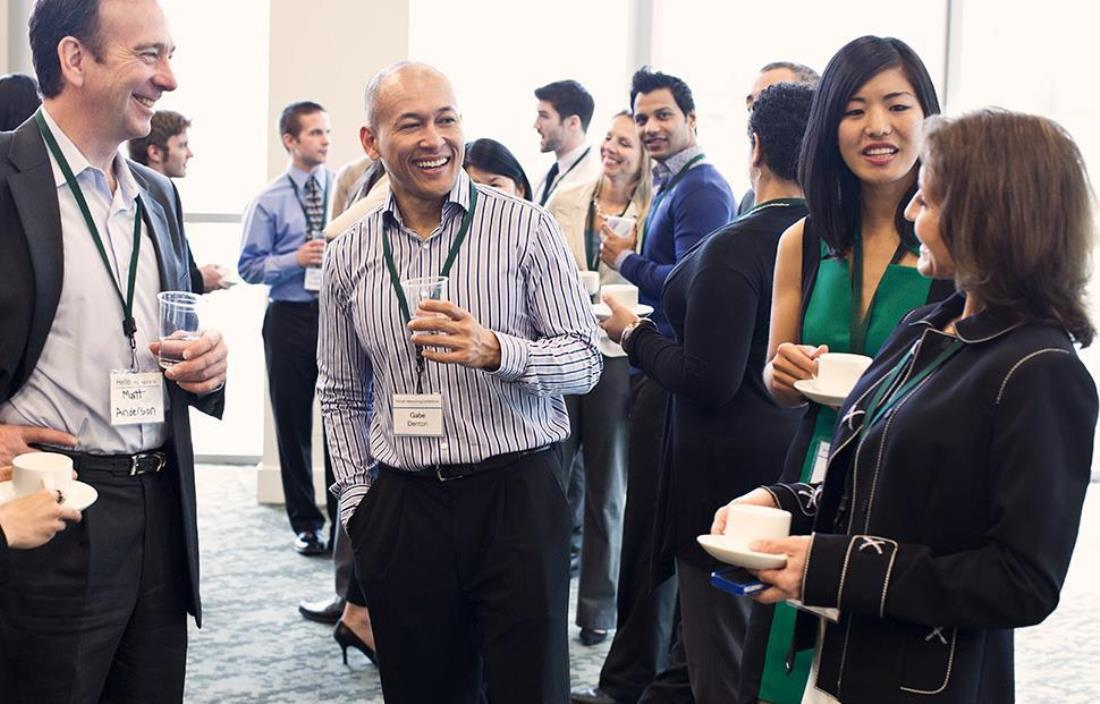 Professionals networking at a mixer