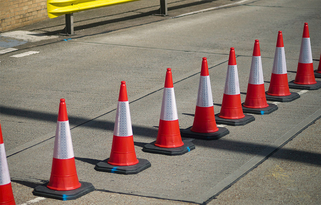 Caution road cones