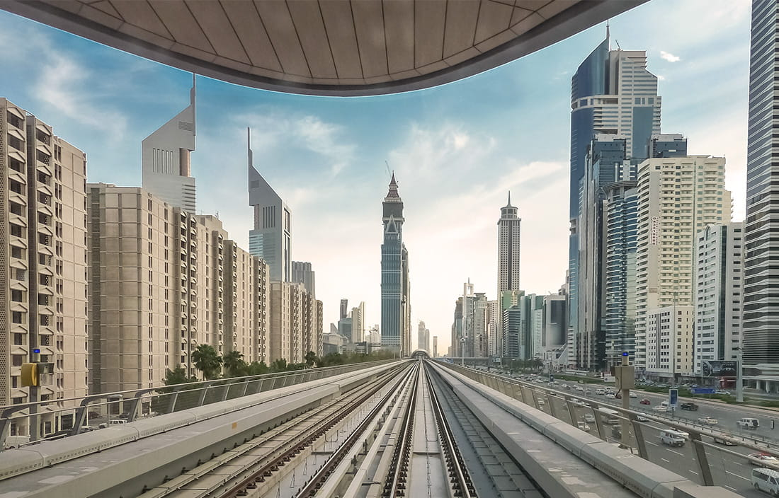 View of a modern city scape from train tracks