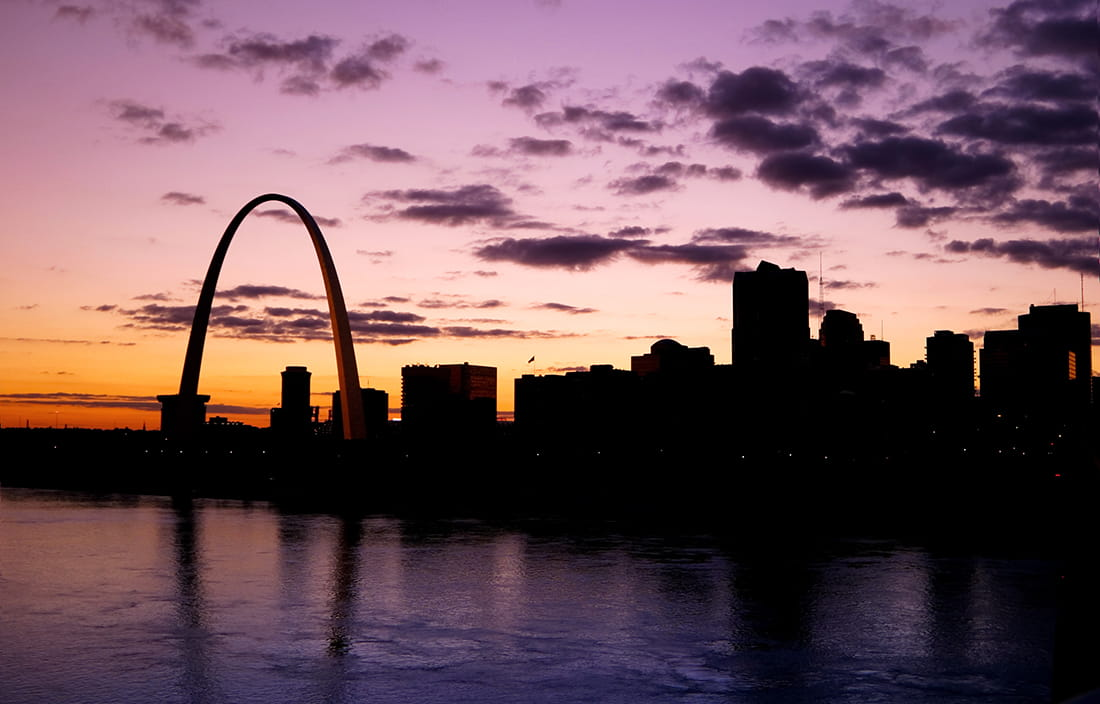 The Gateway Arch in St. Louis at sunset