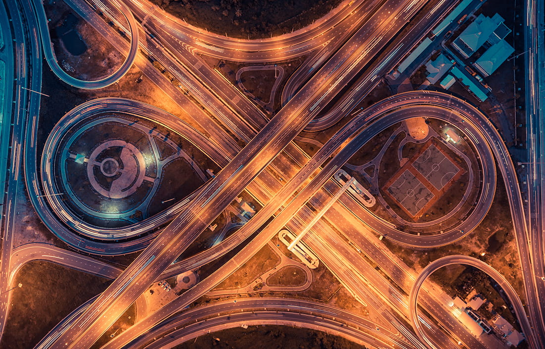 Birds-eye view image of complex highway interchanges
