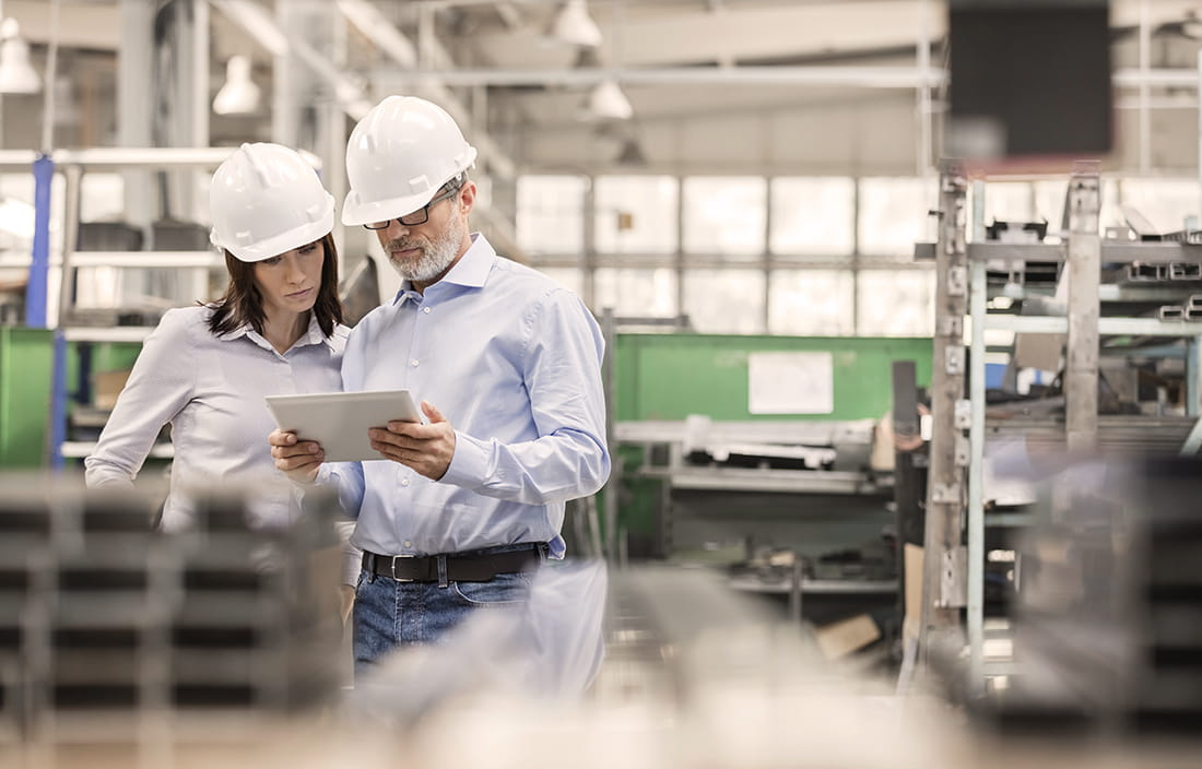 Image of business people working a plant