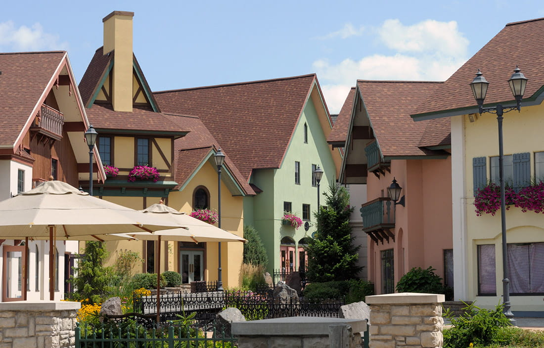 Image of pastel colored buildings