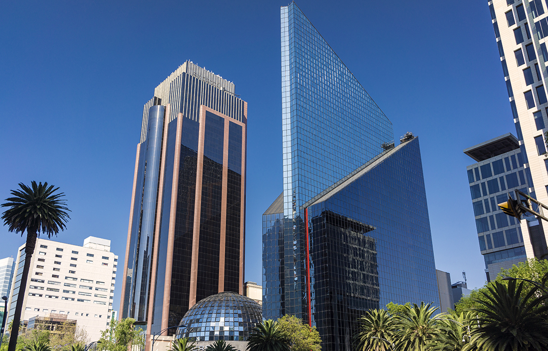 Downtown business buildings in Mexico City.