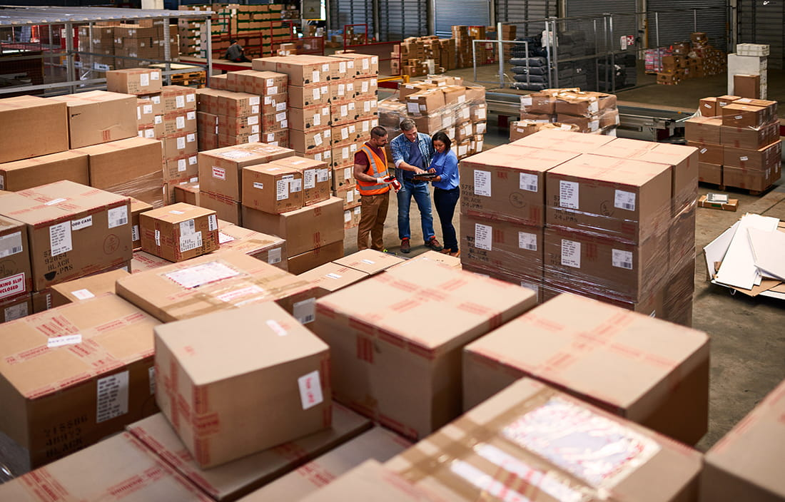 Large boxes on warehouse floor