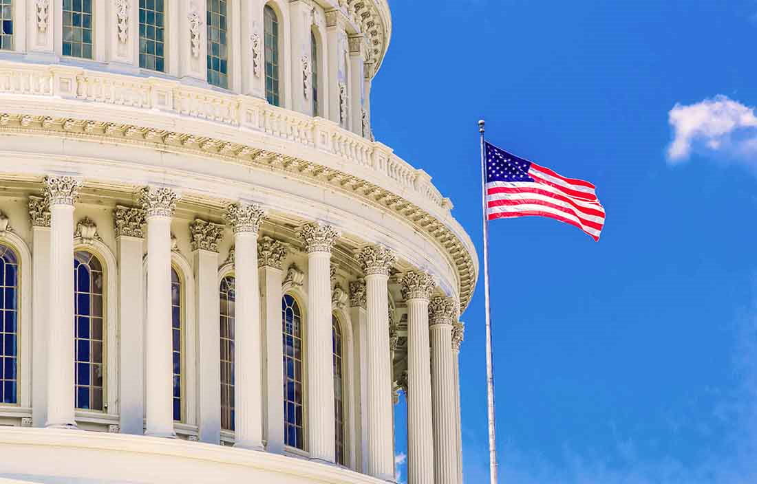 Senate passes COVID-19 Bill: Picture of capital building with flag