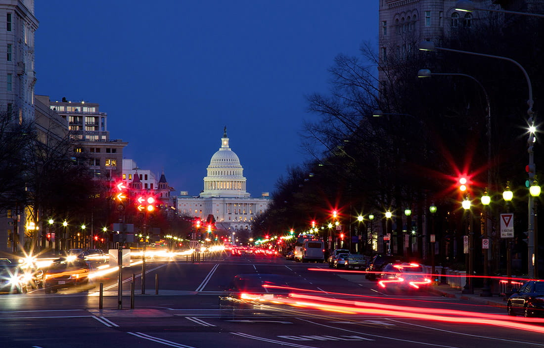 Photo of the U.S. capitol building at night.