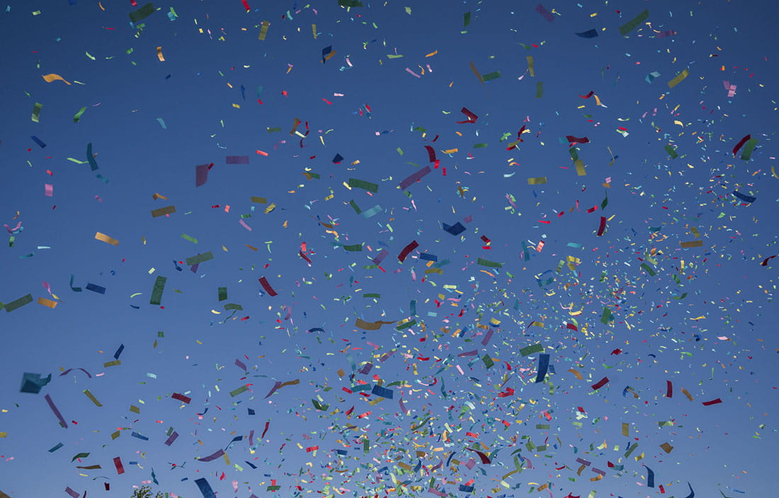 Confetti flying in the air