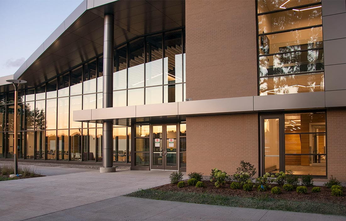 Exterior entrance to Northwestern Michigan College West Hall Innovation Center in Traverse City, MI