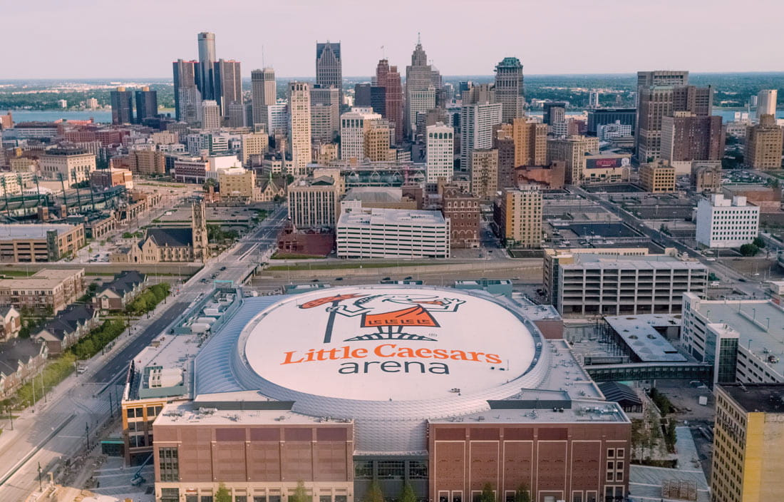 Aerial view of Detroit's new Little Caesars Arena
