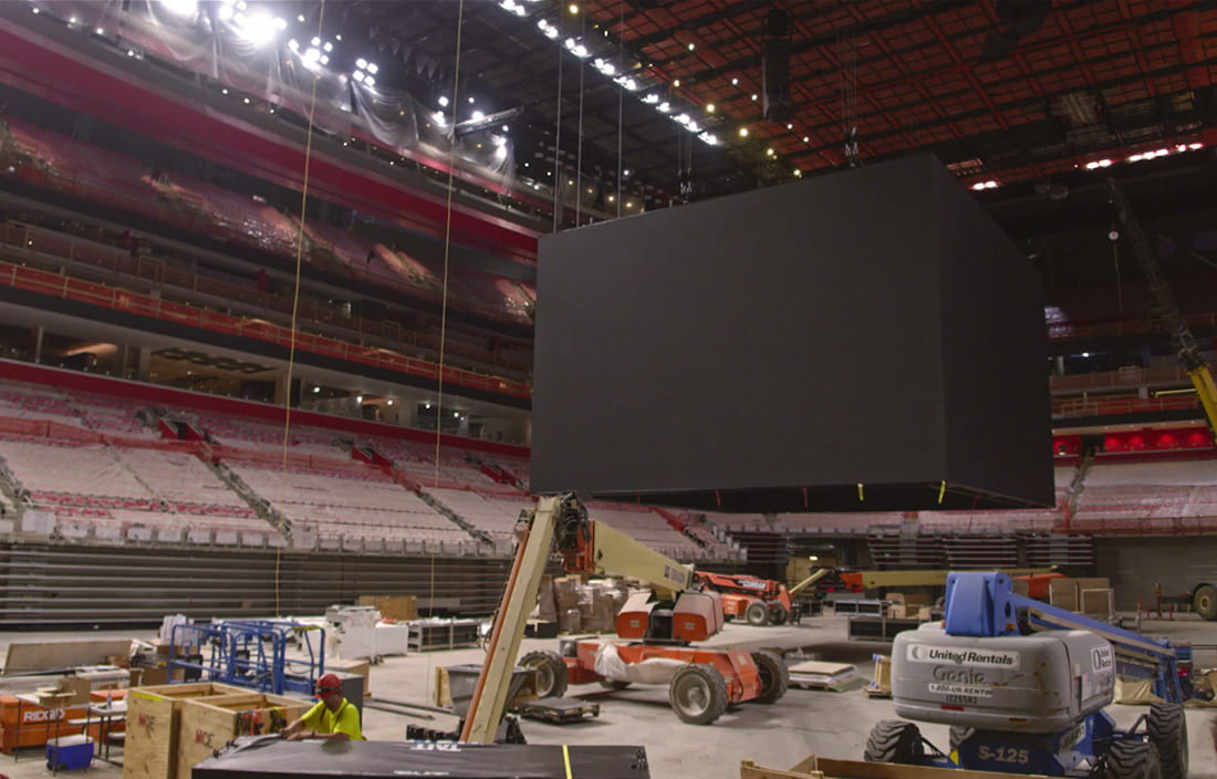 Little Caesars Arena new scoreboard under construction