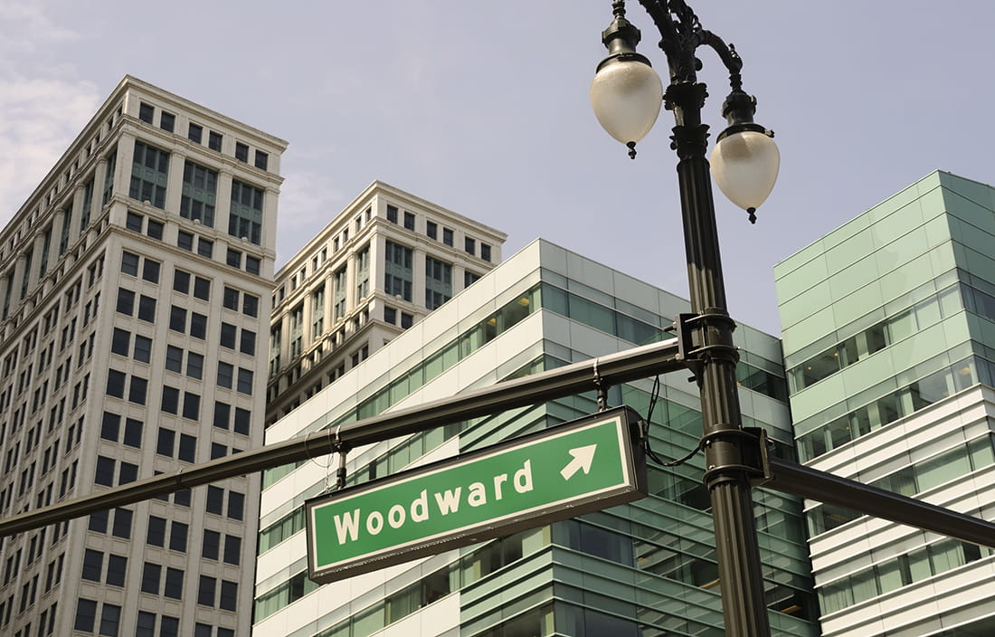 Photo of Woodward Avenue sign in Detroit, Michigan