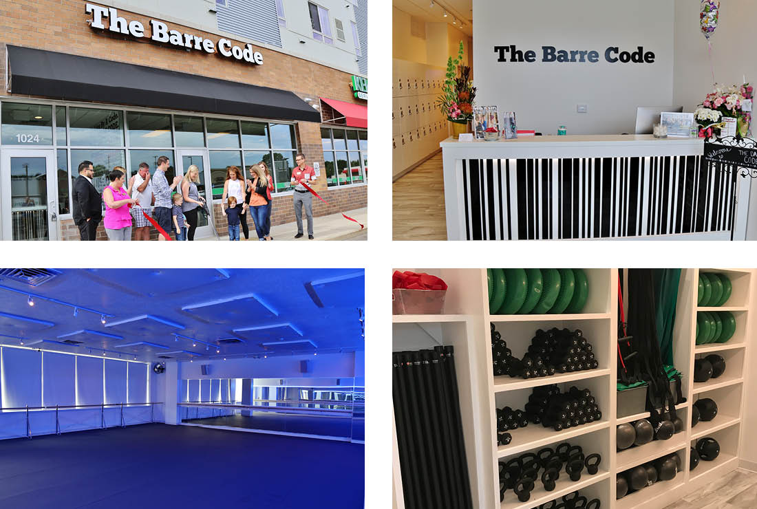 Four photos of The Barre Code's new location, one of the ribbon cutting and three of the interior (the reception desk, studio, and storage)