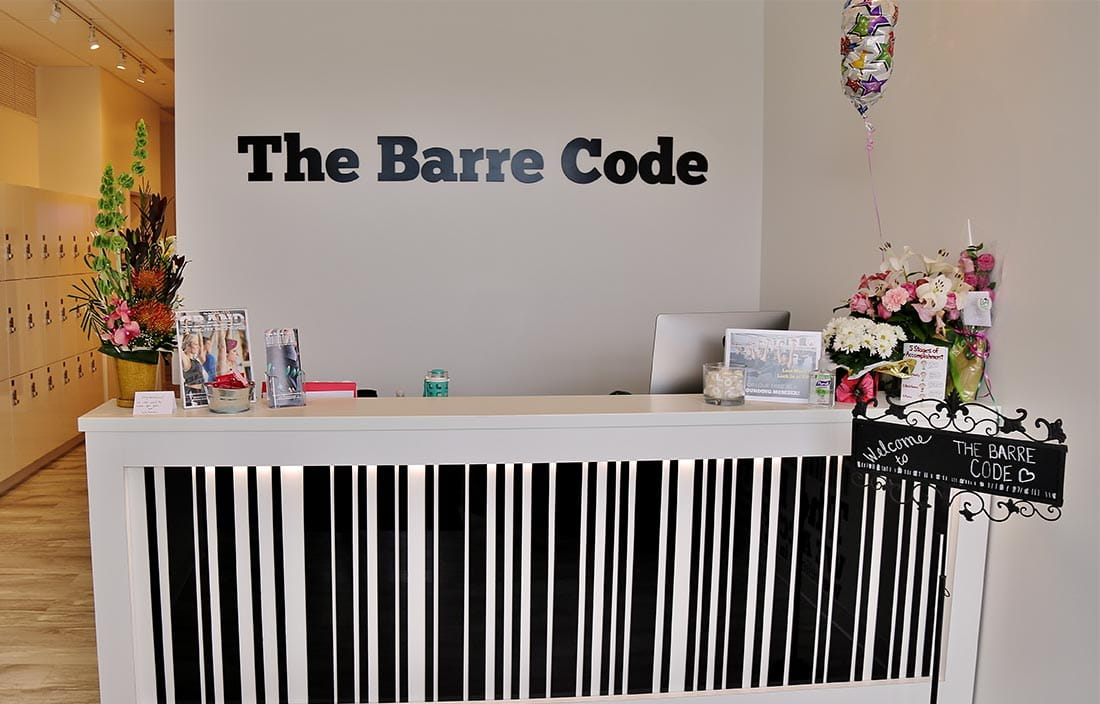 Reception desk for the new East Lansing, Michigan, location of The Barre Code