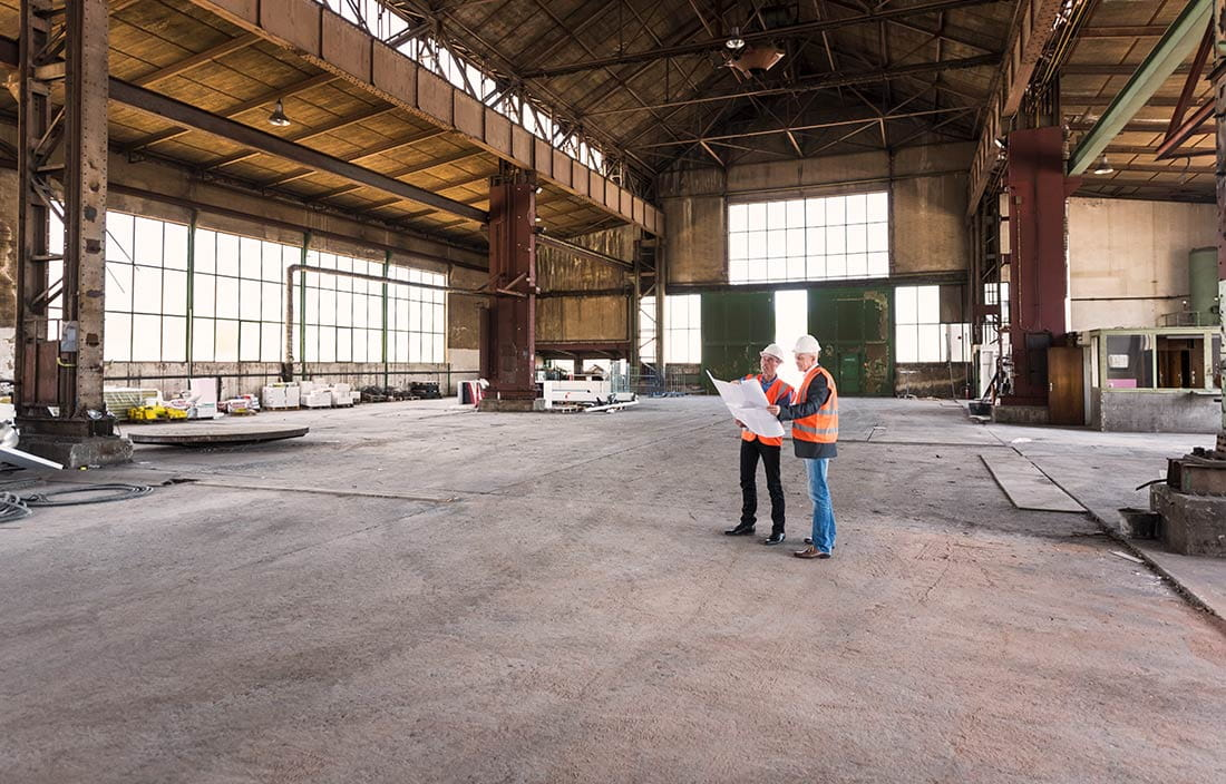 Inside the an industrial real estate building