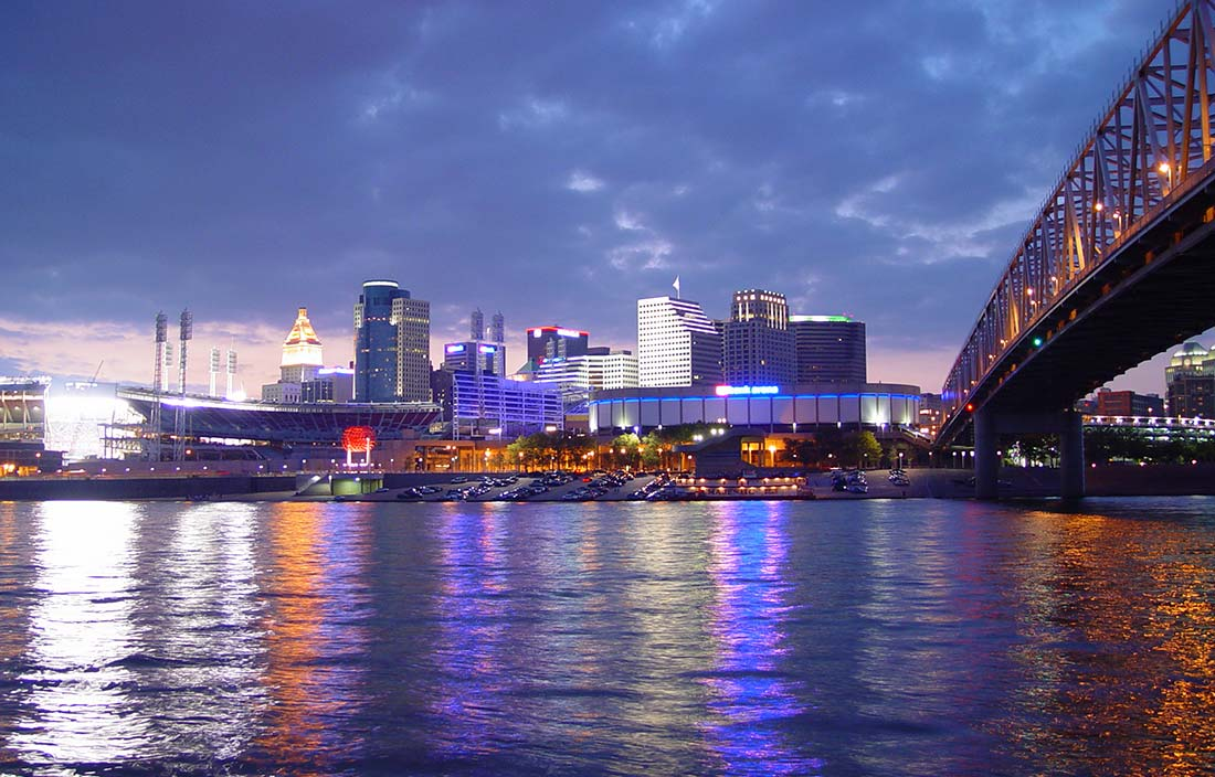 Image of city skyline and bridge to depict our continued engagement with Hamilton County