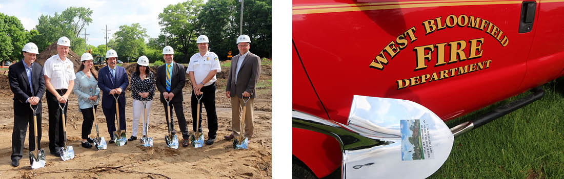 Images of the groundbreaking ceremony at the West Bloomfield Fire Station site with Plante Moran Cresa