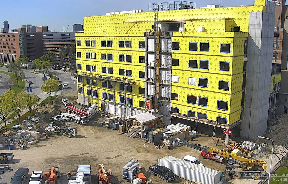 Aerial view of new Children's Hospital of Michigan in Detroit construction (part of the Detroit Medical Center)