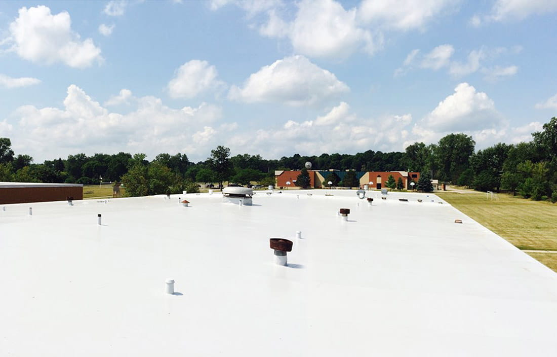 Image of a Farmington Public Schools school building roof that was recently fixed