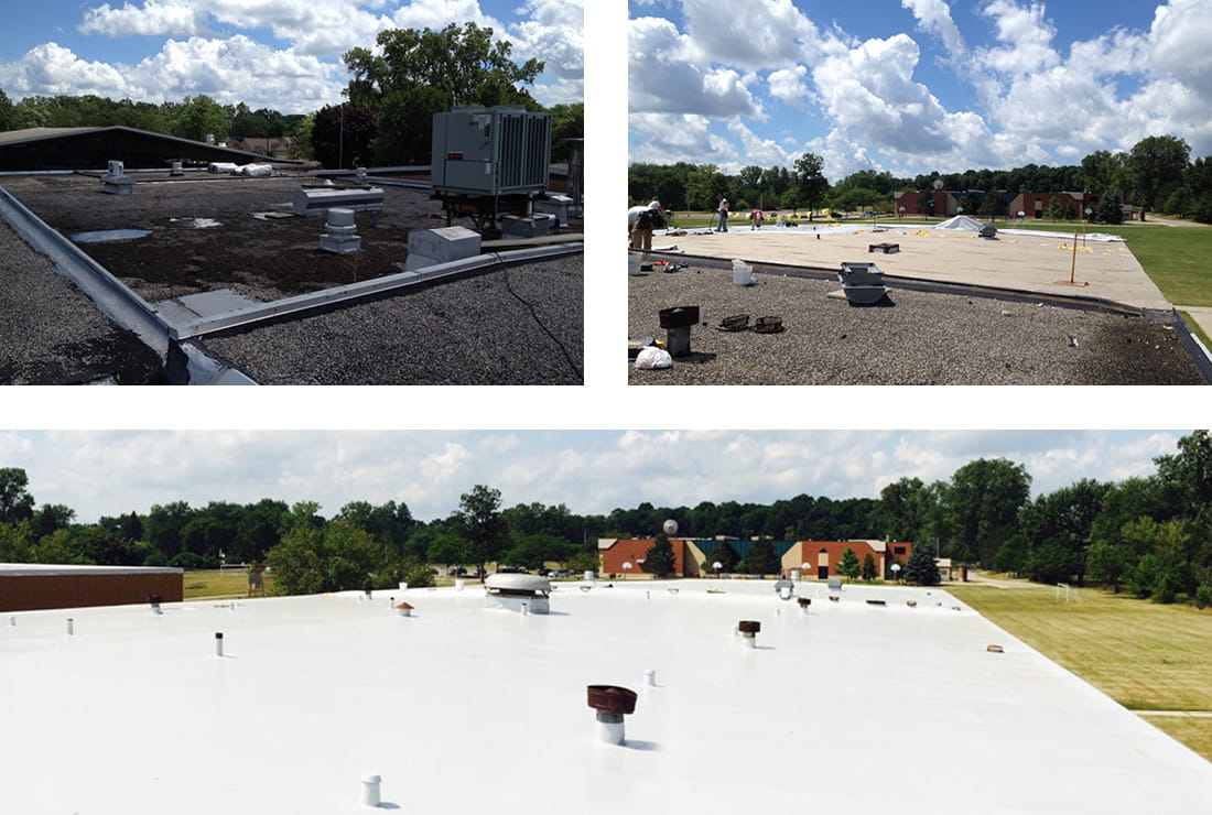 Farmington Public Schools finished roof