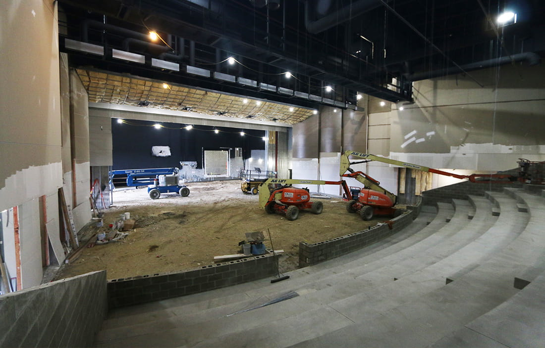 Livonia Franklin High School performance arts center construction