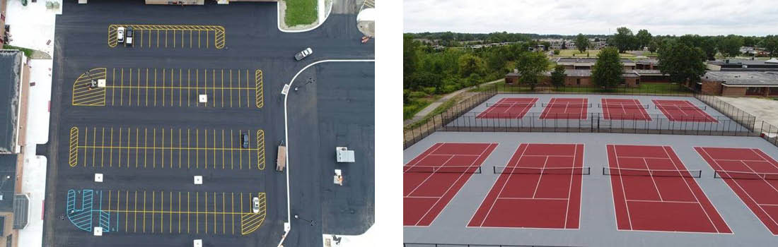 Parking lot and new tennis court in Southgate Community School District