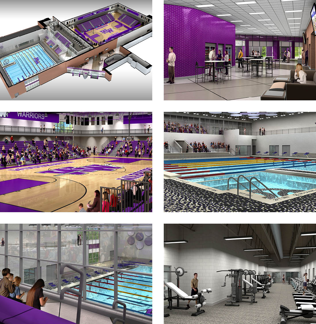 Woodhaven High School, part of Woodhaven-Brownstown School District, renderings for athletic center and pool