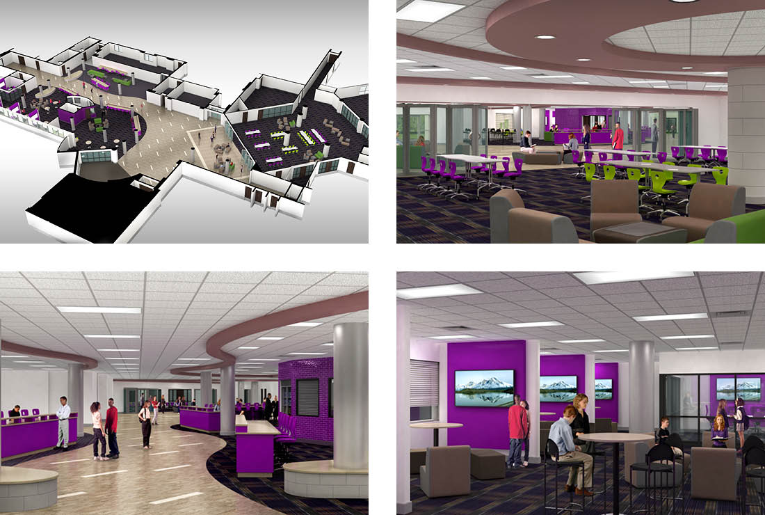 Woodhaven High School, part of Woodhaven-Brownstown School District, new project-based learning zone and media center renderings