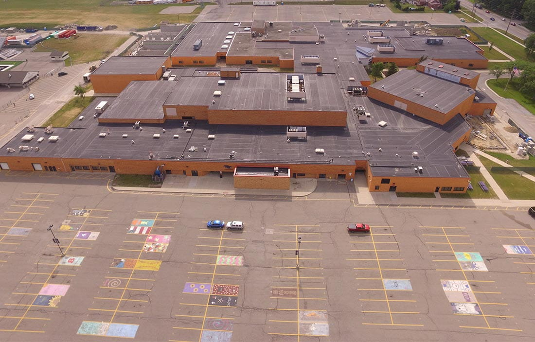 Aerial view of Woodhaven High School's bond projects in Woodhaven-Brownstown School District in Michigan.