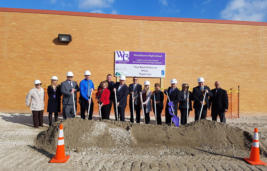 Image of groundbreaking at Woodhaven-Brownstown Schools in Michigan
