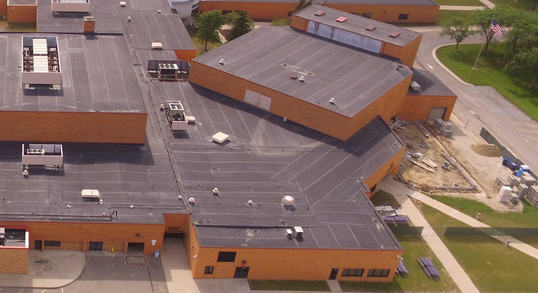 Aerial view of Woodhaven-Brownstown School District's Woodhaven High School's black box addition construction in Woodhaven, Michigan.