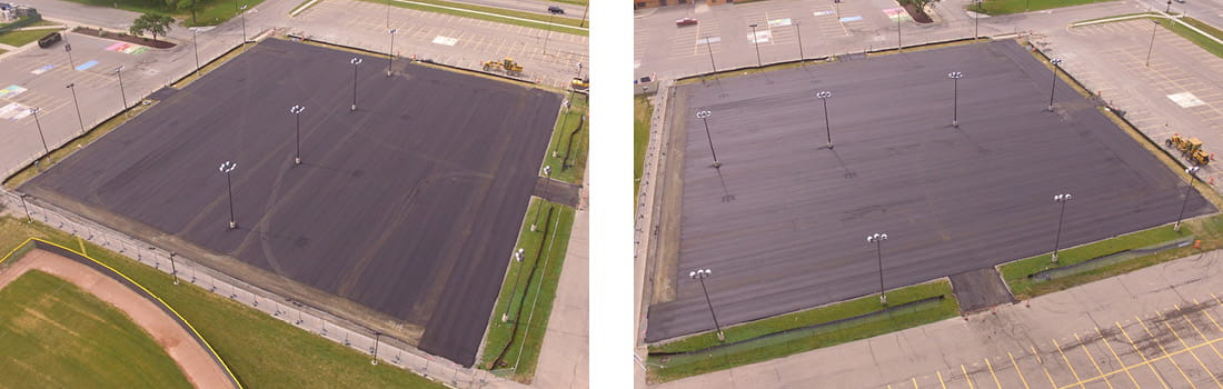 Aerial view of Woodhaven-Brownstown School District's Woodhaven High School's tennis court construction in Woodhaven, Michigan.