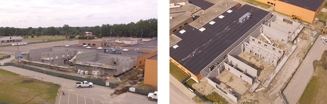 Aerial view of Woodhaven-Brownstown School District's Woodhaven High School's vocational wing construction in Woodhaven, Michigan.