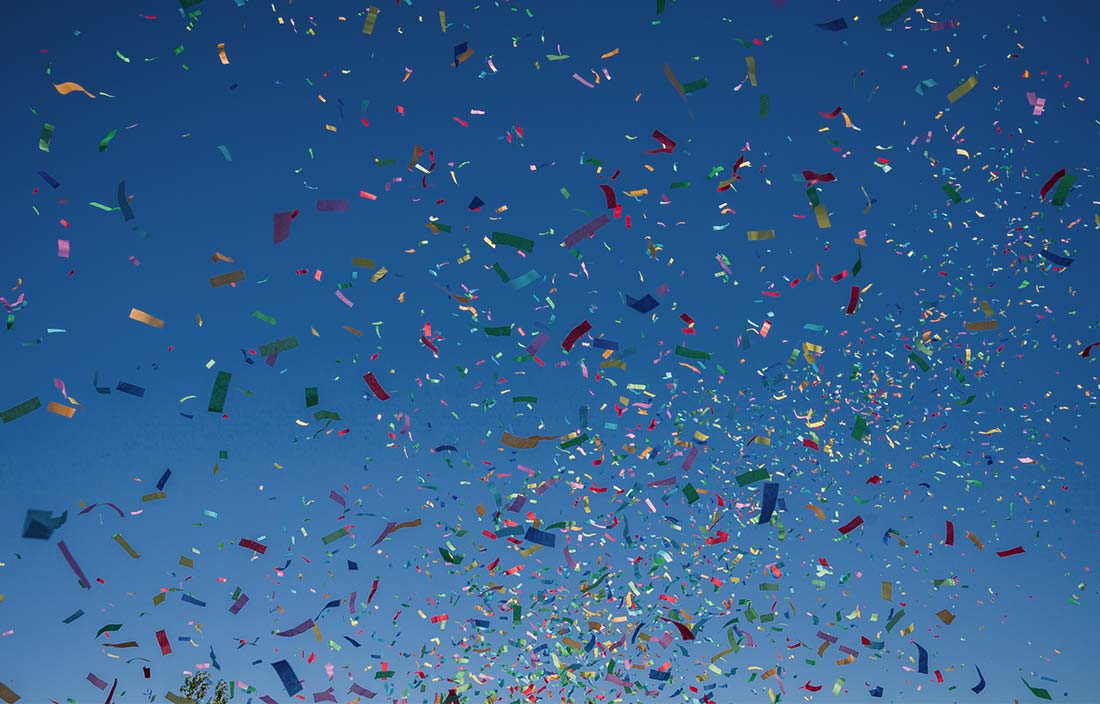Confetti in the air to celebrate something