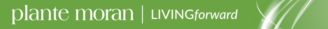 Plante Moran Living Forward logo on green color bar