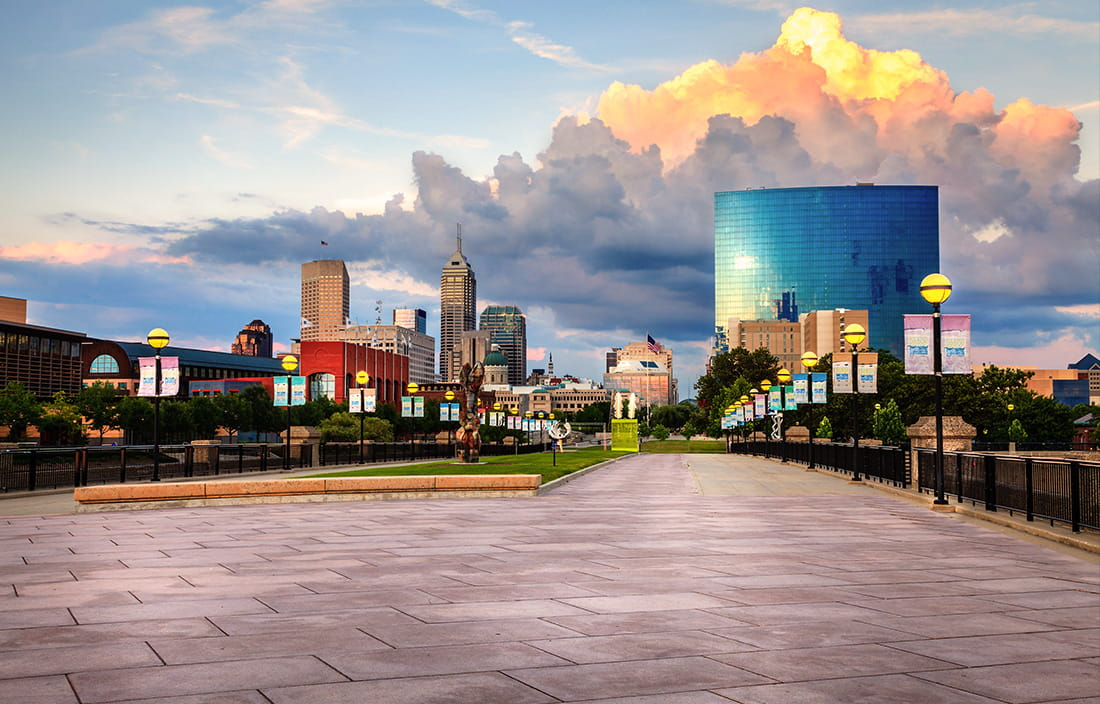 Image of long sidewalk and buildings in Indianapolis, Indiana