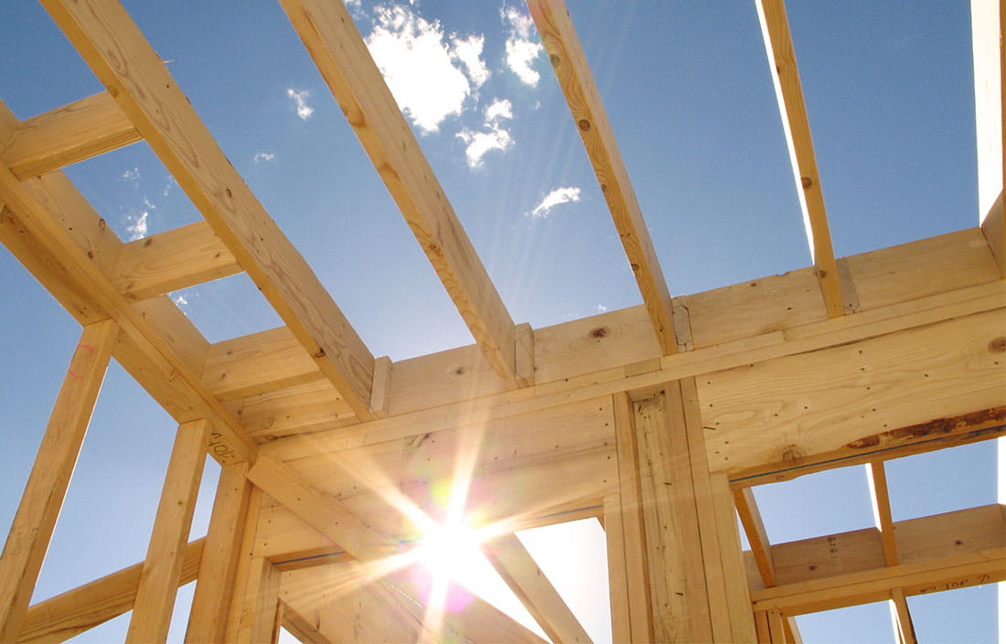 Sparkling Sunlight Framed Within Senior Housing Wood Construction Framing