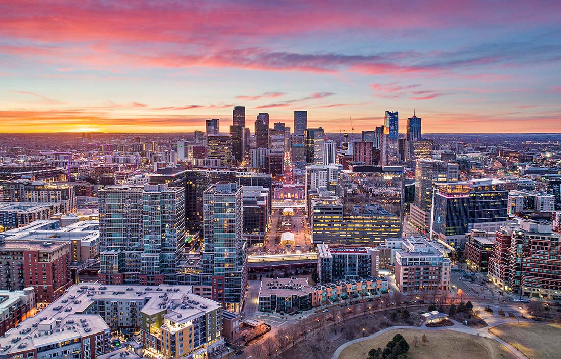 Drone view of Denver, Colorado, at sunset
