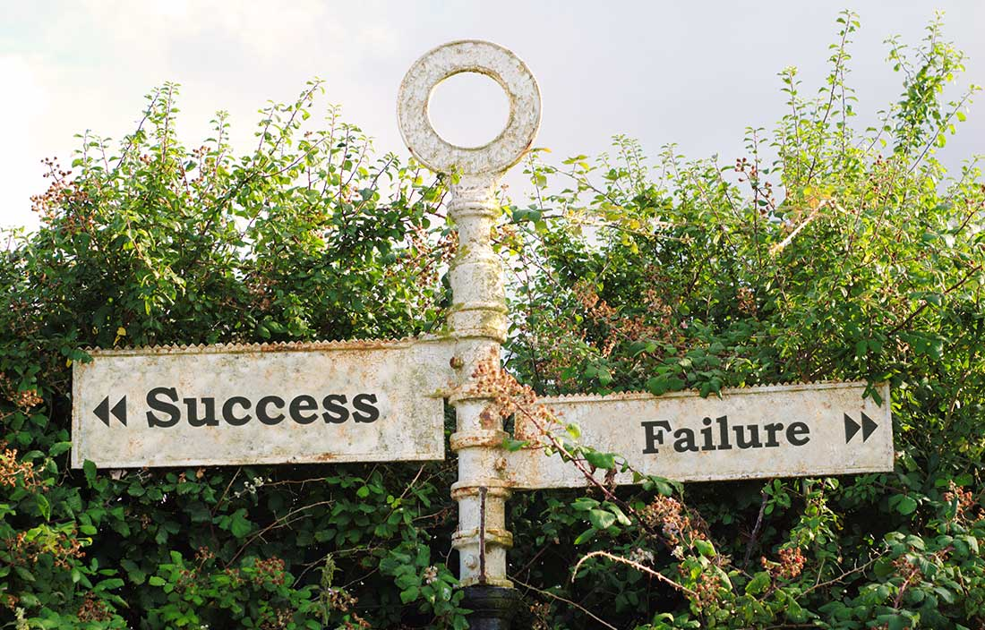 Image of an old sign that points opposite ways with success on one panel and failure on the other