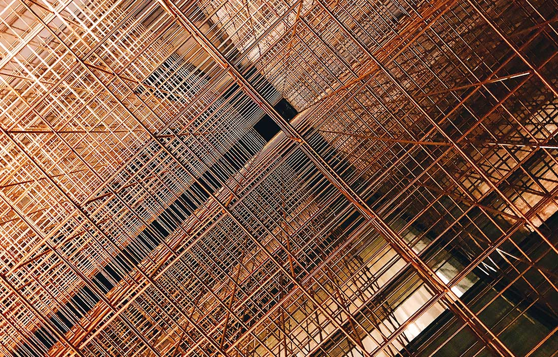 Low Angle View Of Scaffolding On Real Estate Building